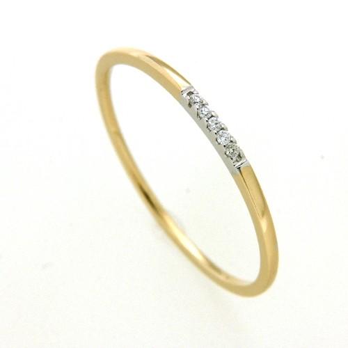 Ring Gold 585 bicolor Brillant 0,03 ct. w/si Weite 58