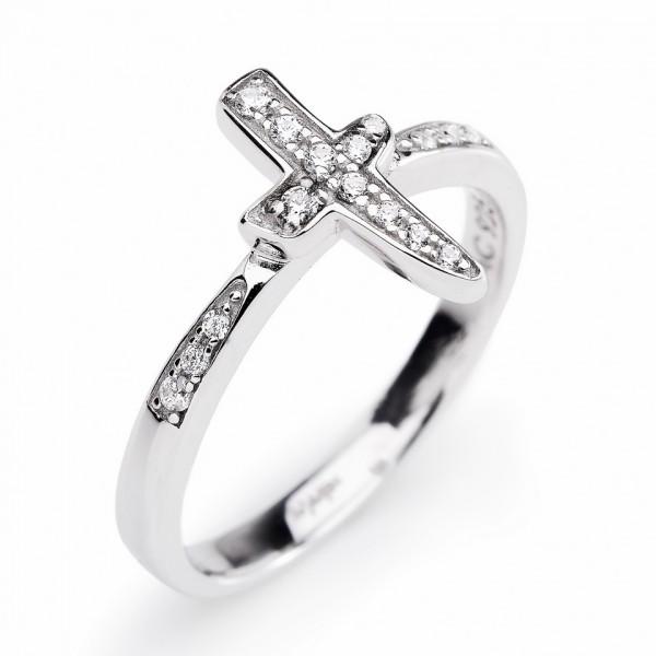 AMEN Ring Silber Kreuz Gr. 52 RC-12