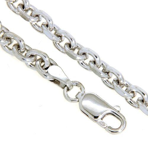 Ankerkette Silber 925 rhodiniert Anker 120 2-fach diamantiert 60 cm