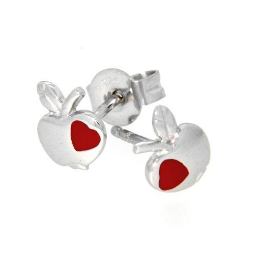 Ohrstecker Silber 925 rhodiniert Apfel mit rotem Herz