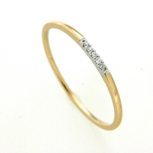 Ring Gold 585 bicolor Brillant 0,03 ct. w/si Weite 52