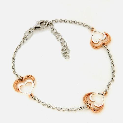 Armband Silber 925 rhodiniert & rosé vergoldet 17 cm + 2 cm