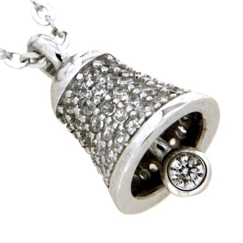 Kette mit Anhänger Silber 925 rhodiniert 42 cm+3 cm Glocke Zirkonia