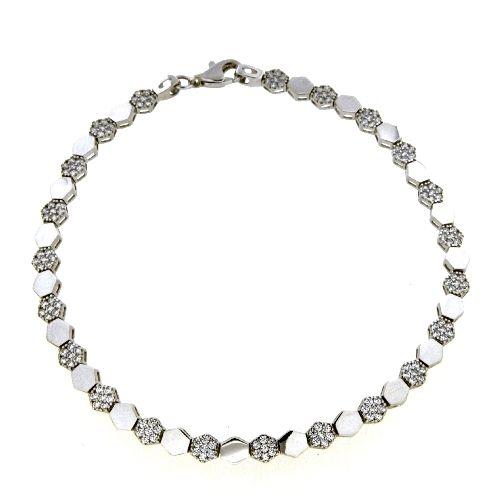 Armband Silber 925 rhodiniert 19 cm Zirkonia