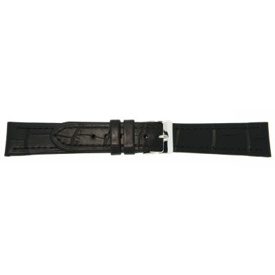 Lederband 24mm schwarz Edelstahlschließe