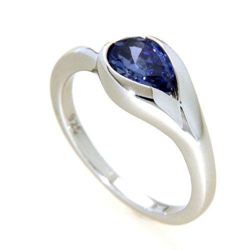 Ring Silber 925 rhodiniert Weite 58 Zirkonia tansanitfarben