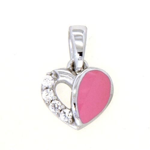 Anhänger Silber 925 rhodiniert Herz pink lackiert