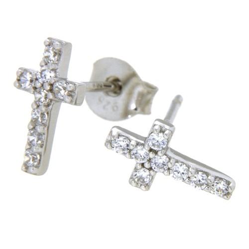 Ohrstecker Silber 925 rhodiniert Kreuz
