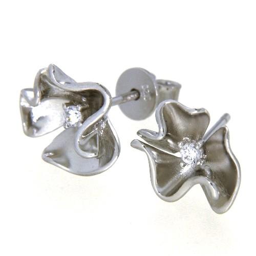Ohrstecker Silber 925 rhodiniert Blüte