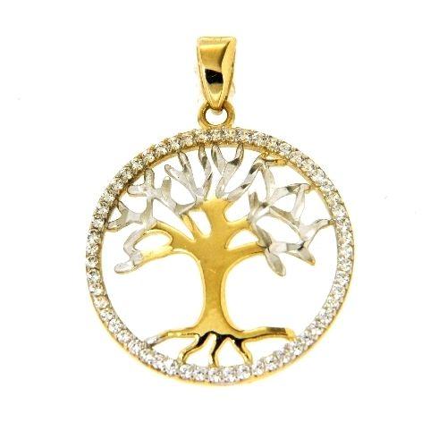 Anhänger Gold 333 Lebensbaum bicolor Zirkonia