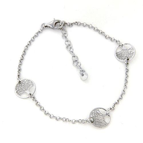 Armband Silber 925 rhodiniert 17 cm + 3 cm Lebensbäume