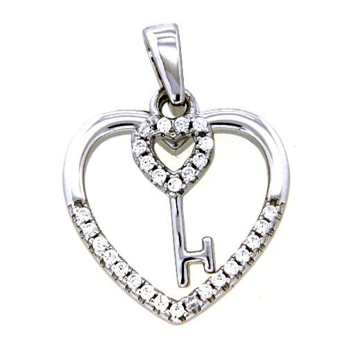 Herzanhänger Silber 925 rhodiniert mit Schlüssel