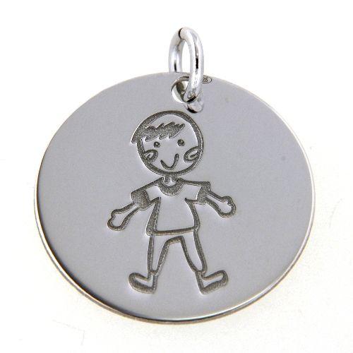 Gravurplatte Silber 925 rhodiniert Junge