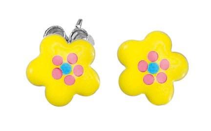 SCOUT Ohrstecker gelb, silber Blumen 262156100