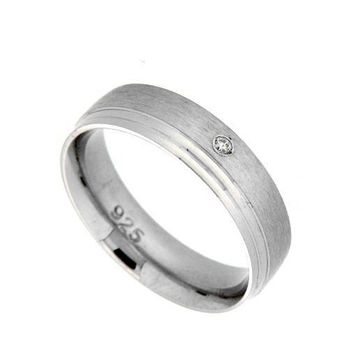Freundschaftsring Silber 925 rhodiniert Zirkonia Breite 5,5 mm Weite 54