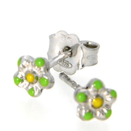 Ohrstecker Silber 925 rhodiniert Blume grün und gelb