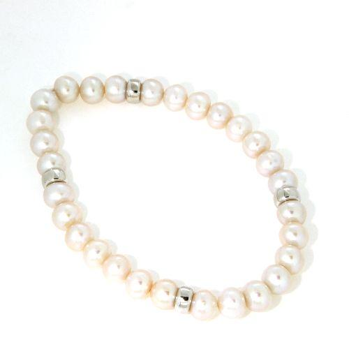 Süßwasser-Perlenarmband (7mm) 18 cm elastisch mit Zwischenteilen Silber 925 rhodiniert