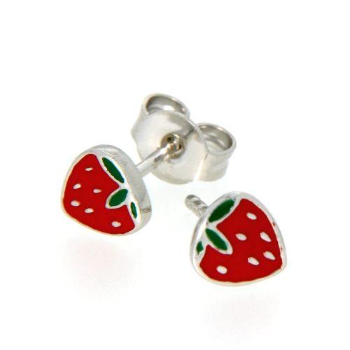 Ohrstecker Silber 925 rhodiniert Erdbeere