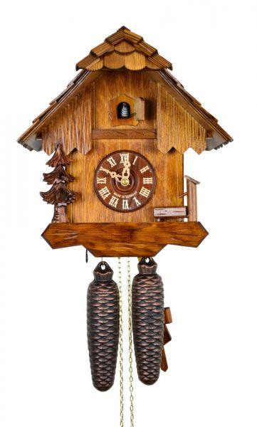 August Schwer Kuckucksuhr 8T Haus Trog Baum 28 cm 2.0204.01.C