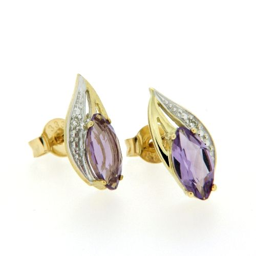 Ohrstecker Gold 333 Amethyst & Brillant