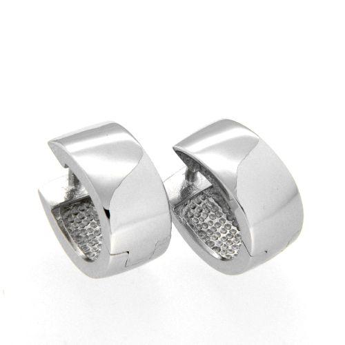 Scharniercreolen Silber 925 rhodiniert U -Form 6,4mm x 11,5mm