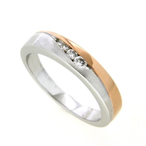 Ring Silber 925 rhodiniert rosé vergoldet s. c. Zirconia Weite 62