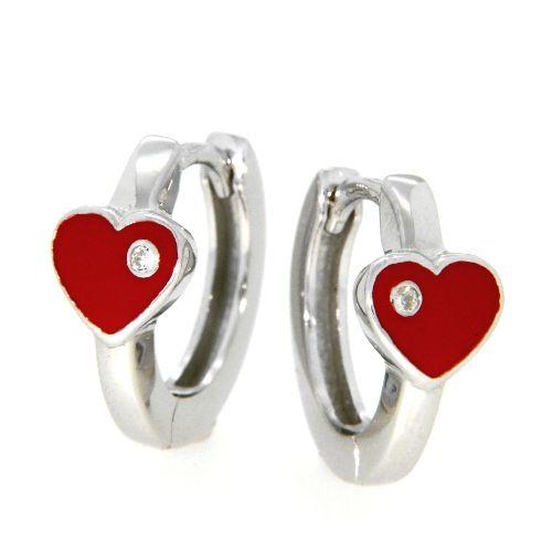 Scharniercreolen Silber 925 rhodiniert Herz rot