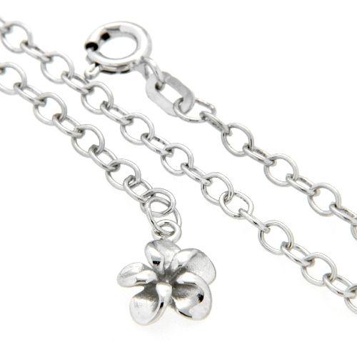 Fußkette Silber 925 rhodiniert mit Blume