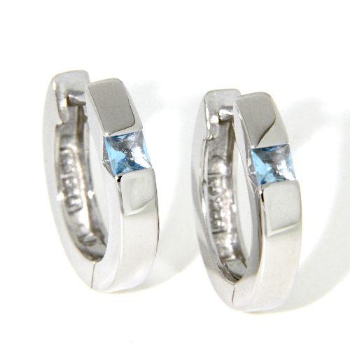 Scharniercreolen Silber 925 rhodiniert Kristall hellblau