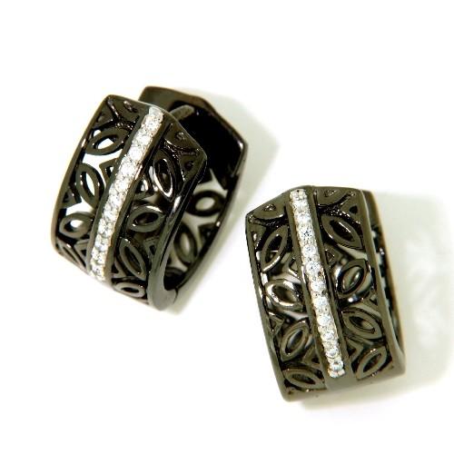 Scharniercreolen Silber 925 schwarzrhodiniert