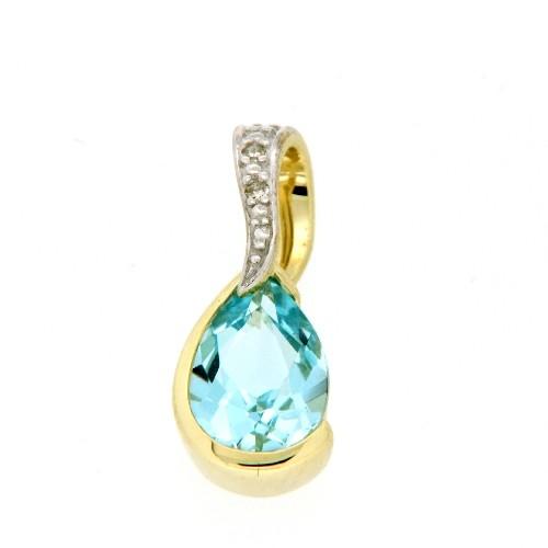 Anhänger 333 Gold Diamant Blautopas