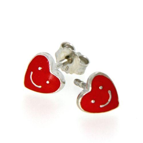 Ohrstecker Silber 925 rhodiniert Herz mit Gesicht rot
