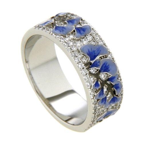 Ring Silber 925 rhodiniert Weite 58 Emaille Zirkonia