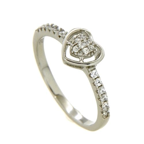 Ring Silber 925 rhodiniert Zirkonia Herz Weite 50
