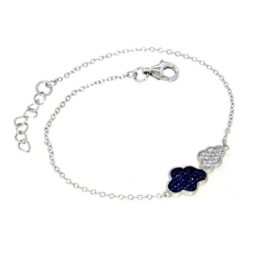 Armband Silber 925 rhodiniert Wolken 17 cm + 2 cm