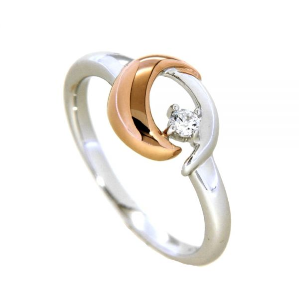 Ring Silber 925 rhodiniert und rosé vergoldet Weite 54