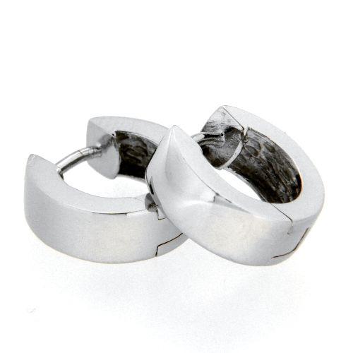 Scharniercreolen Silber 925 rhodiniert 5mm x 13mm kantig