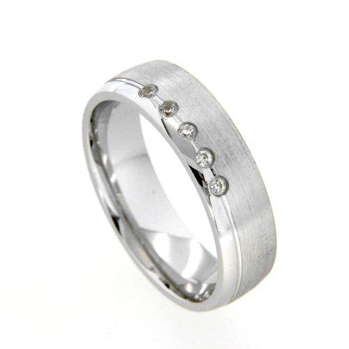 Freundschaftsring Silber 925 rhodiniert Zirkonia Breite 6 mm Weite 54