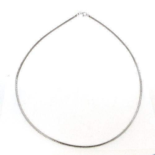 Omega Halsreifen Silber 925 rhodiniert 2,0mm 45 cm