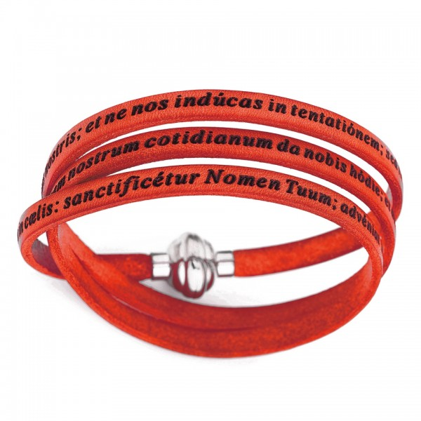 AMEN Armband 57 cm Leder korallenfarben VATER UNSER Latein PNLA23-57
