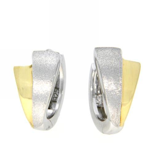 Scharniercreolen Silber 925 rhodiniert bicolor
