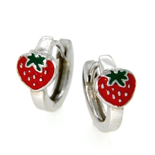 Scharniercreolen Silber 925 rhodiniert Erdbeere