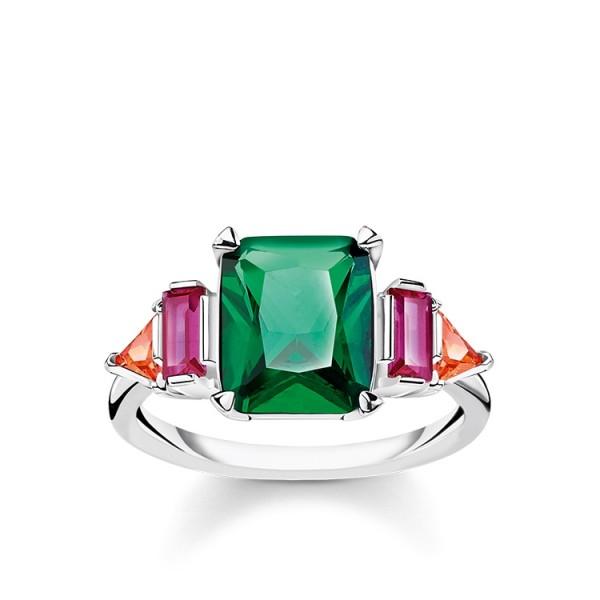 Thomas Sabo Ring farbige Steine Größe 48 TR2262-477-7-48