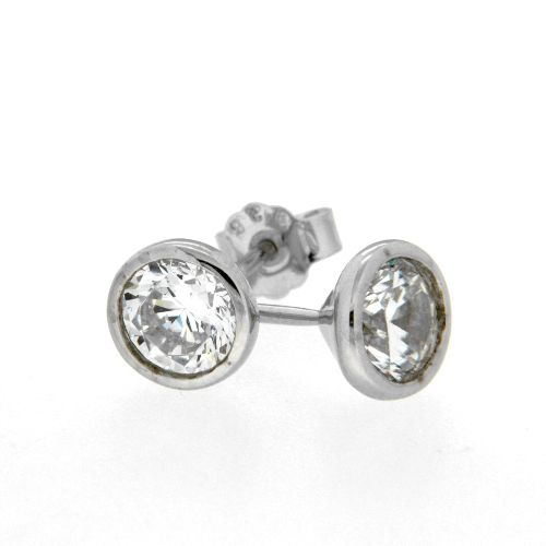 Ohrstecker Silber 925 rhodiniert Zirkonia 7,5mm