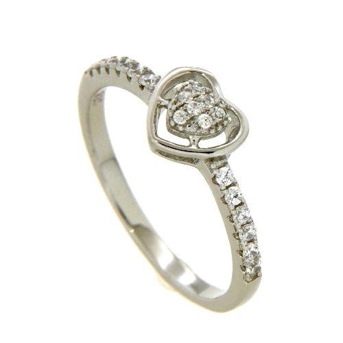 Ring Silber 925 rhodiniert Zirkonia Herz Weite 60