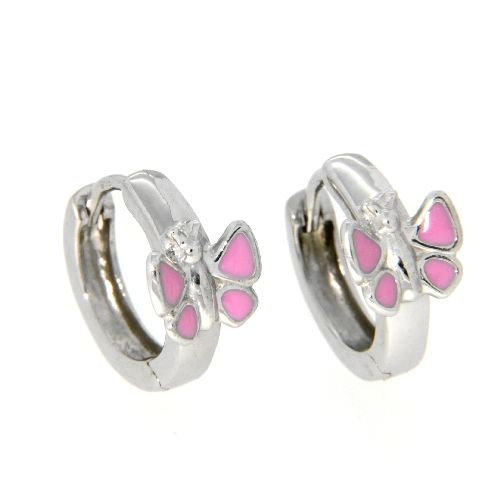 Scharniercreolen Silber 925 rhodiniert Schmetterling rosa