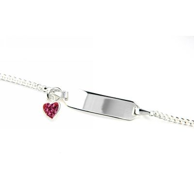 Identitäts-Armband Silber 925 rhodiniert 16-14 cm mit Herzanhänger
