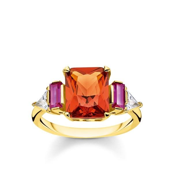 Thomas Sabo Ring farbige Steine vergoldet Größe 48 TR2262-488-7-48