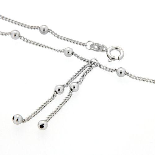 Fußkette Silber 925 rhodiniert 25 cm