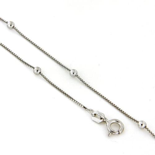 Kette Venezianer mit Kugeln Silber 925 rhodiniert 50 cm